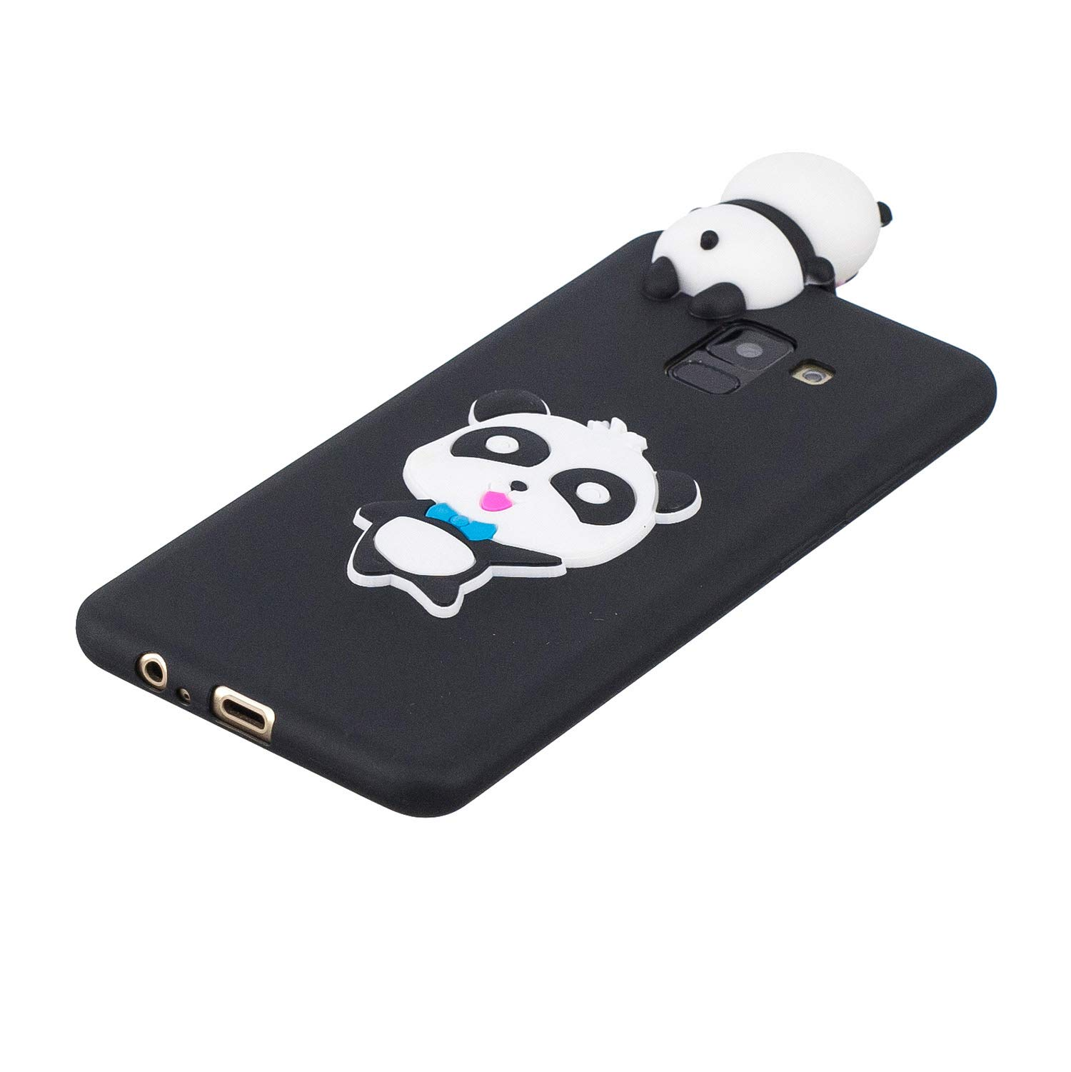 for Samsung Galaxy A8 2018 Silicone Case with Screen Protector,QFFUN 3D Cartoon [Panda] Pattern Design Soft Flexible Slim Fit Gel Rubber Cover,Shockproof Anti-Scratch Protective Case Bumper by QFFUN (Image #3)