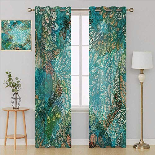 Dragonfly gromit Curtains Darkening Noise Reducing Backtab Window Panel,Fantasy Flowers Mixed in Various Tones Shabby Chic Feminine Beauty Print curtain holdback 108 By 96 Inch Turquoise Amber ()
