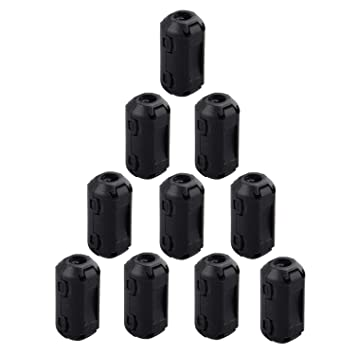 Black 20pcs sourcing map Ferrite Cores Ring 3.5mm 5mm 7mm 9mm 11mm Clip-On RFI EMI Noise Suppression Filter Cable Clip
