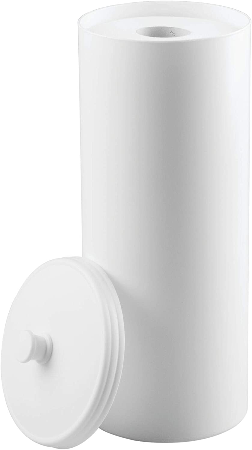 mDesign Free Standing Toilet Roll Holder - No Drilling Required - Plastic Toilet Roll Stand for The Bathrrom - Toilet Roll Storage, Elegantly Solved with Space for 3 Rolls - White