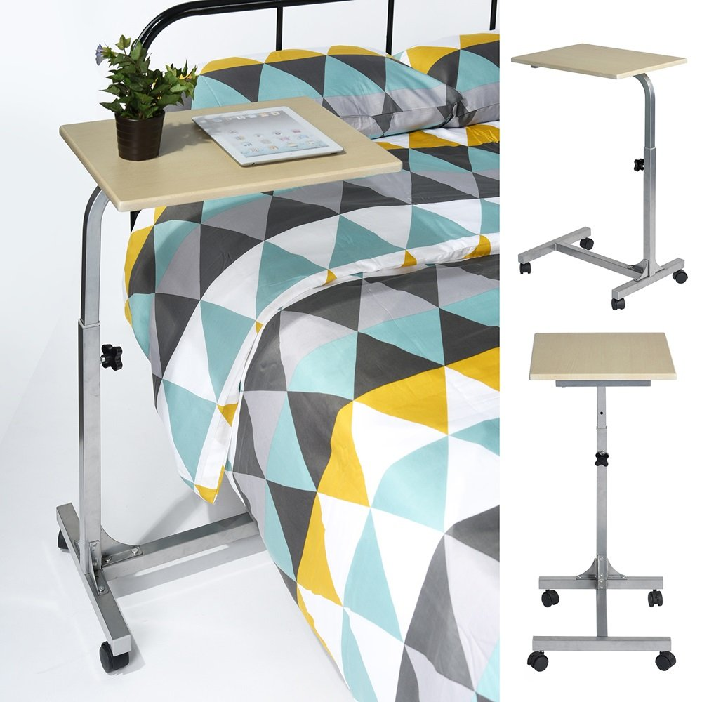 Laptop Lap Desk, Adjustable Height Overbed Table, Bed Sofa Side Table With Wheels