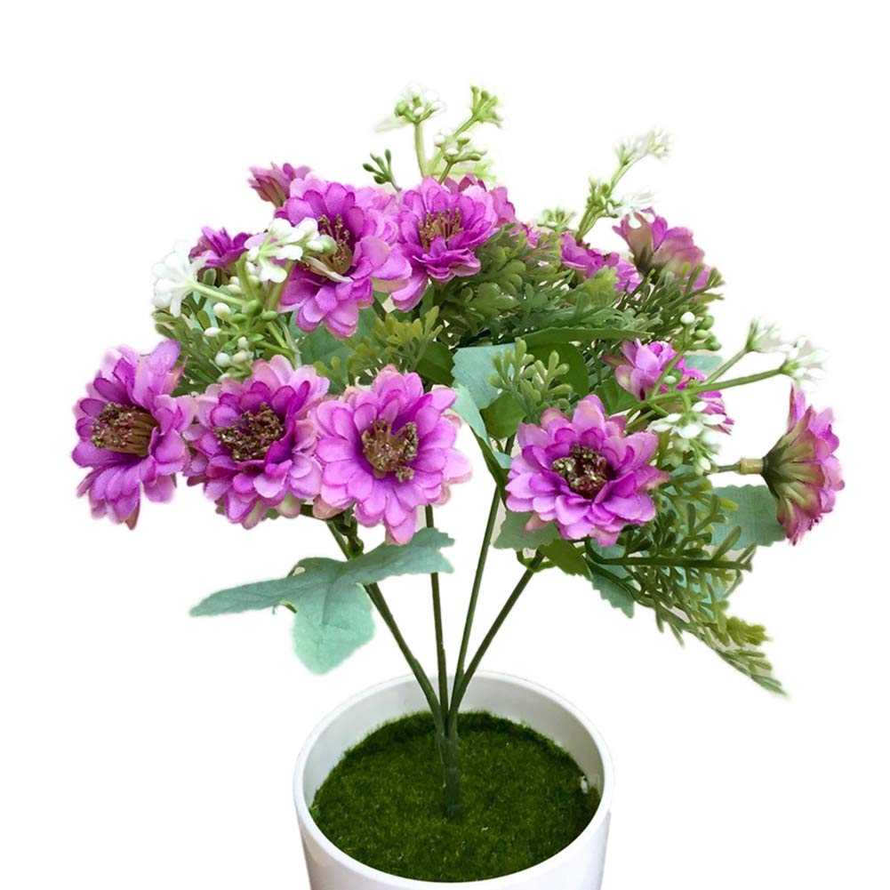 helegeSONG 造花 シルクプラスチック 人工植物 1個 造花 デイジーガーデン DIY ステージ パーティー ホーム ウェディング フェスティバル インテリア ホーム オフィス ウェディング ガーデン プール ギフト ホテル - ピンクレッド Purple パープル helegeSONG-86 B07RF7CWH1 パープル