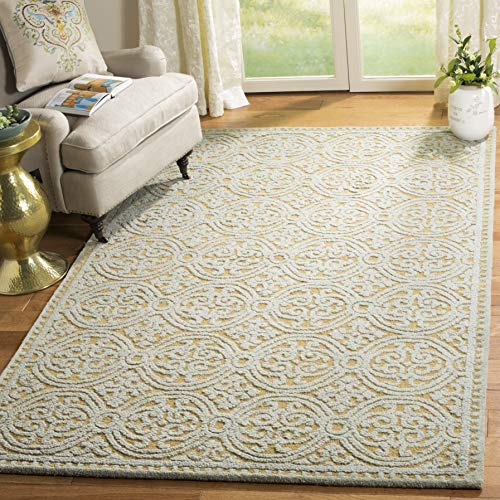 Safavieh Cambridge Collection CAM234A Handcrafted Moroccan Geometric Blue and Gold Premium Wool Area Rug (8' x 10')