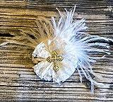 Baptism bow - Christening bow - white bow - Godchild - God child - wedding bow - hairbow - hair bow - lace flower - cross rhinestone - cross bling - fancy bow -