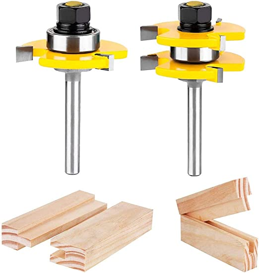Tongue Groove Router Bits 1//2 Inch Shank Wood Milling Cutter Tool Tungsten Steel
