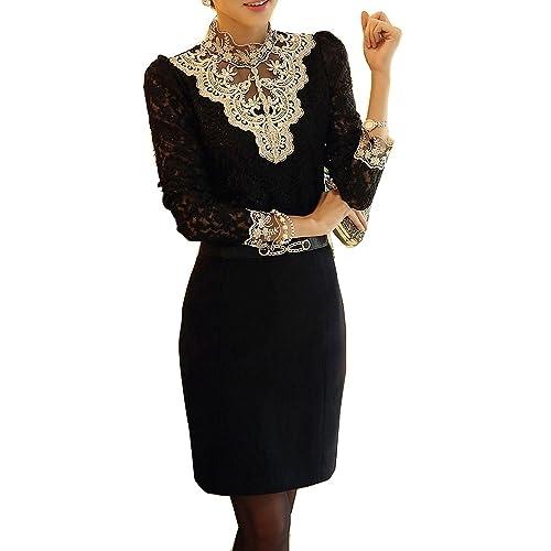 Minetom Mujer Elegante Blusa Cordón Blusa Tops Con Diamante De Imitación Camisas OL 2 Colores Negro