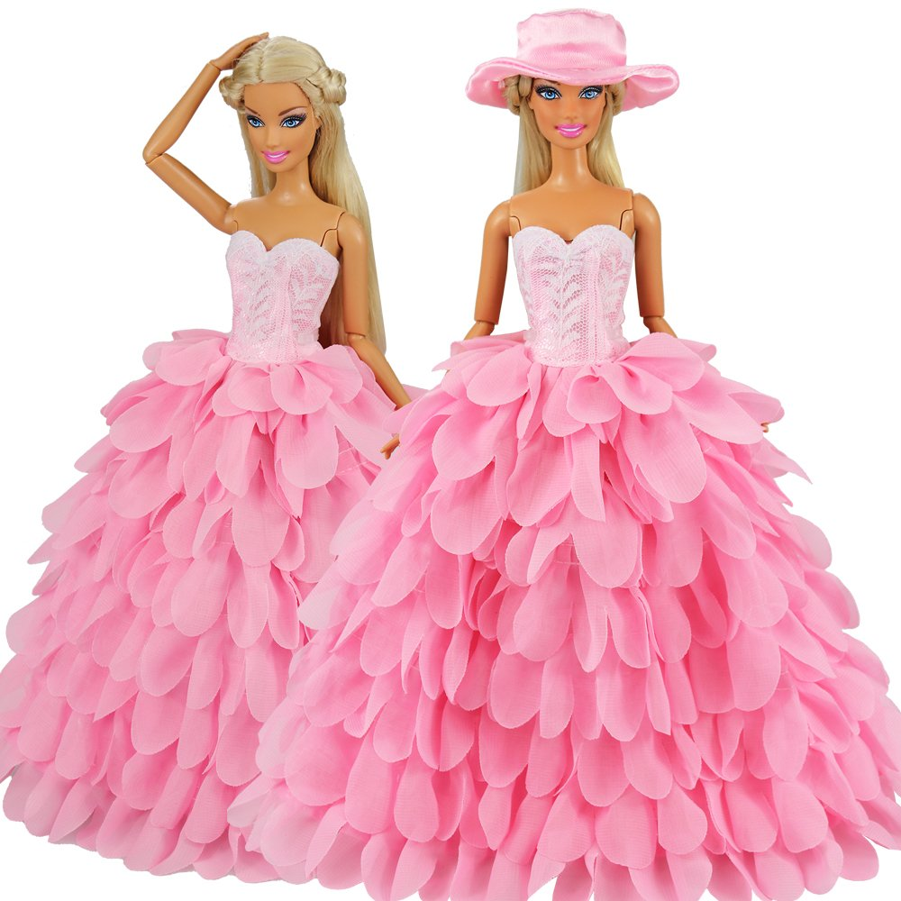 1b54e89e68b43 BARWA White Wedding Dress with Veil and Pink Princess Evening Party Clothes  Wears Gown Dress Outfit with Hat for 11.5 Inch Girl Doll