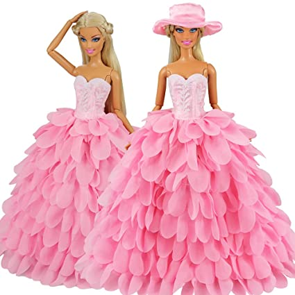 f88cd05ad253 Image Unavailable. Image not available for. Color: BARWA Princess Evening  Party Clothes Wears Dress Outfit Set for 11.5 inch Doll with Hat (