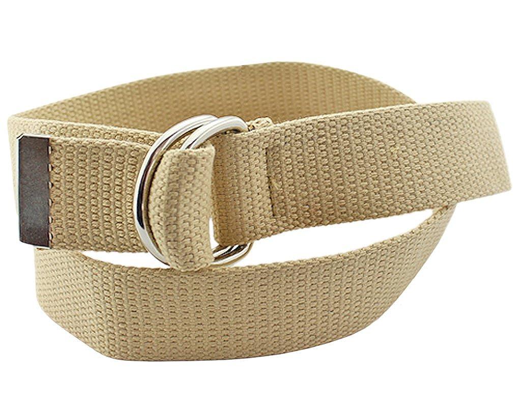 BONAMARTUnisex Men Women Double Ring Solid Color Knit Canvas Web Belt Waistband 108cm