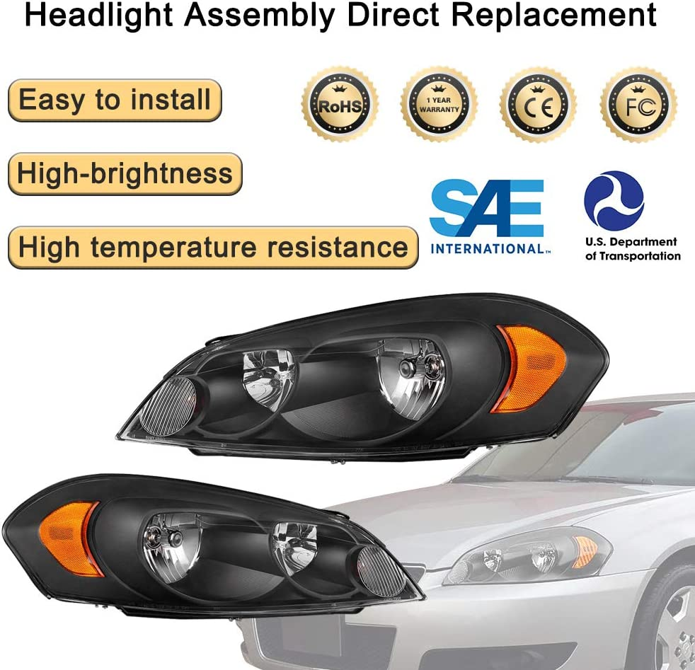 Black BRYGHT Headlight Assembly Compatible with 2006-2013 Chevrolet Impala 06 07 Chevy Monte Carlo Black Housing Headlamp Replacement with Amber Reflector Pair 14-16 Chevrolet Impala Limited