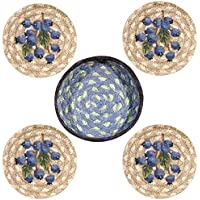 Earth Rugs 29-CB312B Design Round Jute Basket with 4-Printed Coasters, 5, Blueberry