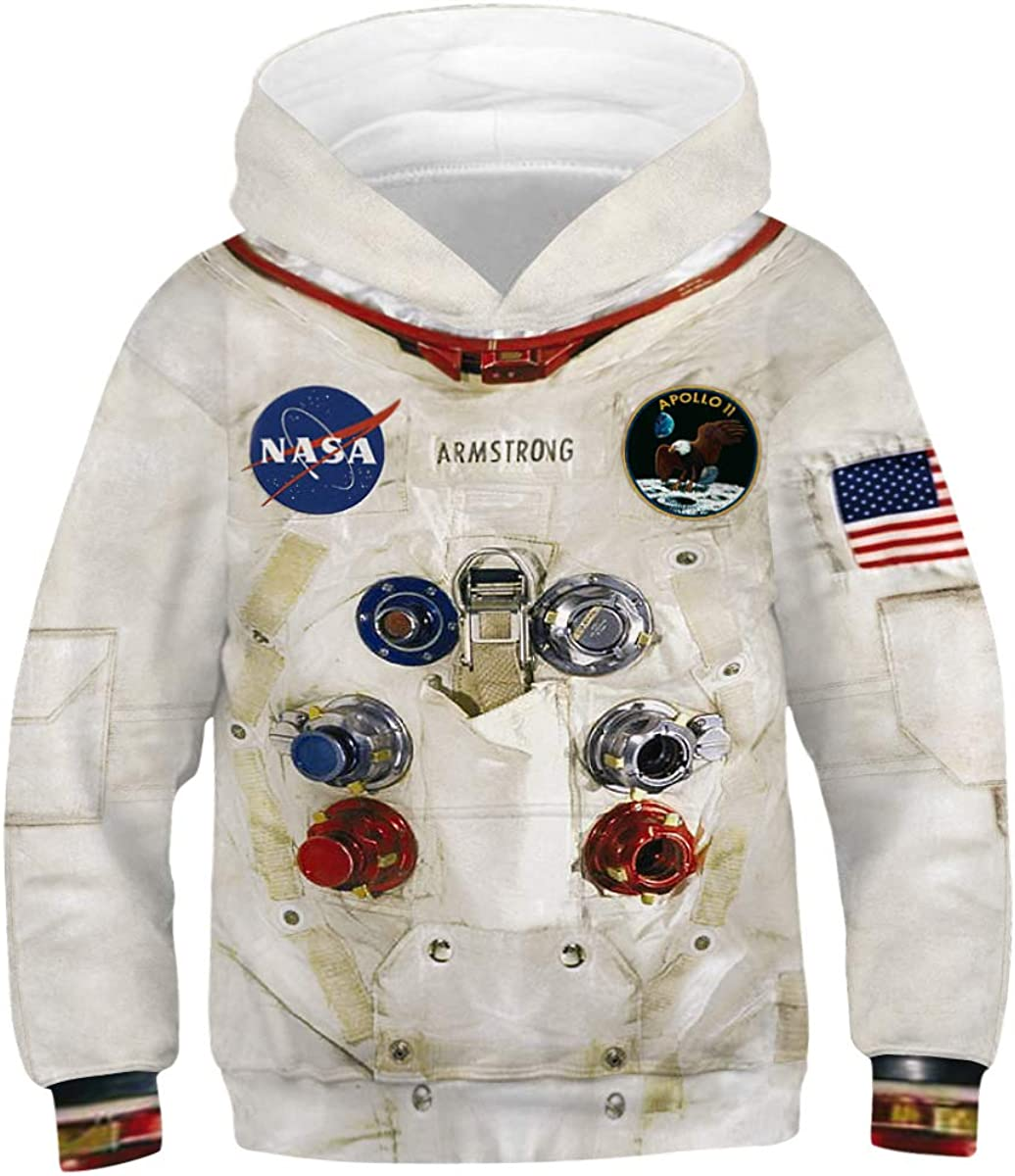 Leezeshaw Kids 3D Colorful Oil Painting Hoodie Funny Patterned Pullover Kangaroo Pocket
