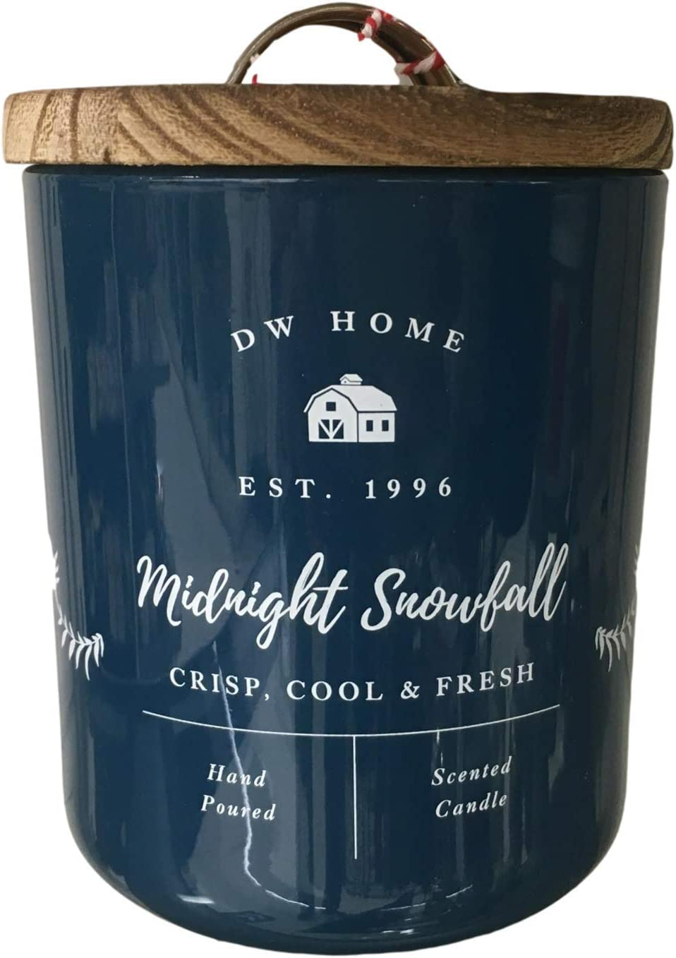 DW Home Farmhouse Holiday Classics Collection Medium Single Wick Wood Lid Candles (Midnight Snowfall)