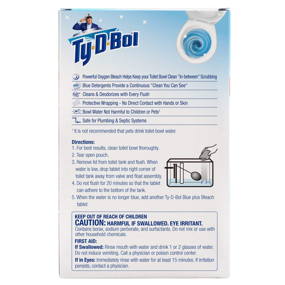 Ty-D-Bol Blue Plus Bleach Tablets Value 5 Pack, Cleans and Deodorizer Toilets for a Fresh Smelling Bathroom (Pack of 10) by Ty-D-Bol (Image #2)
