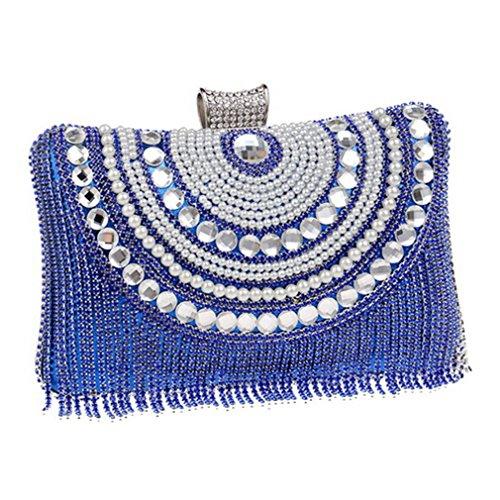 Shoulder Purse Diamonds Messenger Bag Chain Metal Evening Evening Bags Beaded Clutch Ym1074blue Wedding C0UWY0