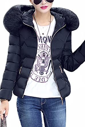 Black jacket with fur hood for womens