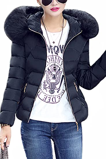 78b54874af2 YMING Women's Winter Down Cotton Coat Quilted Parka Jacket with Faux Fur  Hood