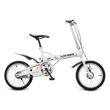 XQ Bicicleta Plegable de 16 Pulgadas Adultos Bicicleta Plegable de Una Sola Velocidad Ultraligero Amortiguación Hombres