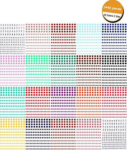 Rhinestone Stickers,Self Adhesive Bling Craft Jewelry Crystal Gem Stickers for Craft,Nail,Festival,Carnival,Makeup,(3440 Pieces20 Color 3 (Gem Nail Sticker)