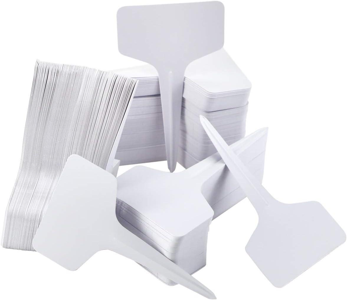 Hslife 300 Pcs Plastic Plant T-Type Tags Plant Nursery Garden Labels Markers Reusable Plant Labels, White
