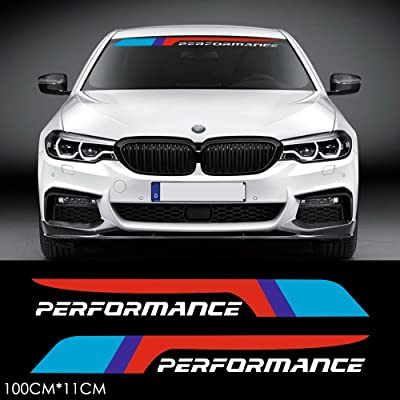 2pcs M Performance 2020 Front Rear Windshield Window Banner Vinyl Decal Stickers for BMW F10 F30 E90 E60 E39 E36 E30 X1 X3 X5 X6 Z4 M3 M4 M5 (White): Automotive