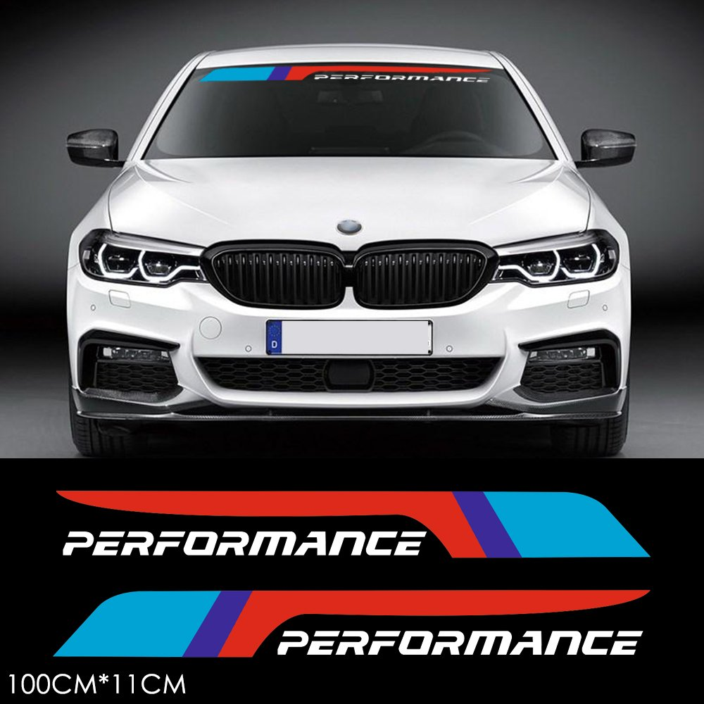 Amazon com charminghorse 2pcs m performance 2018 front rear windshield windows decal stickers for bmw x1 x3 x5 x6 z4 m3 m4 m5 white automotive