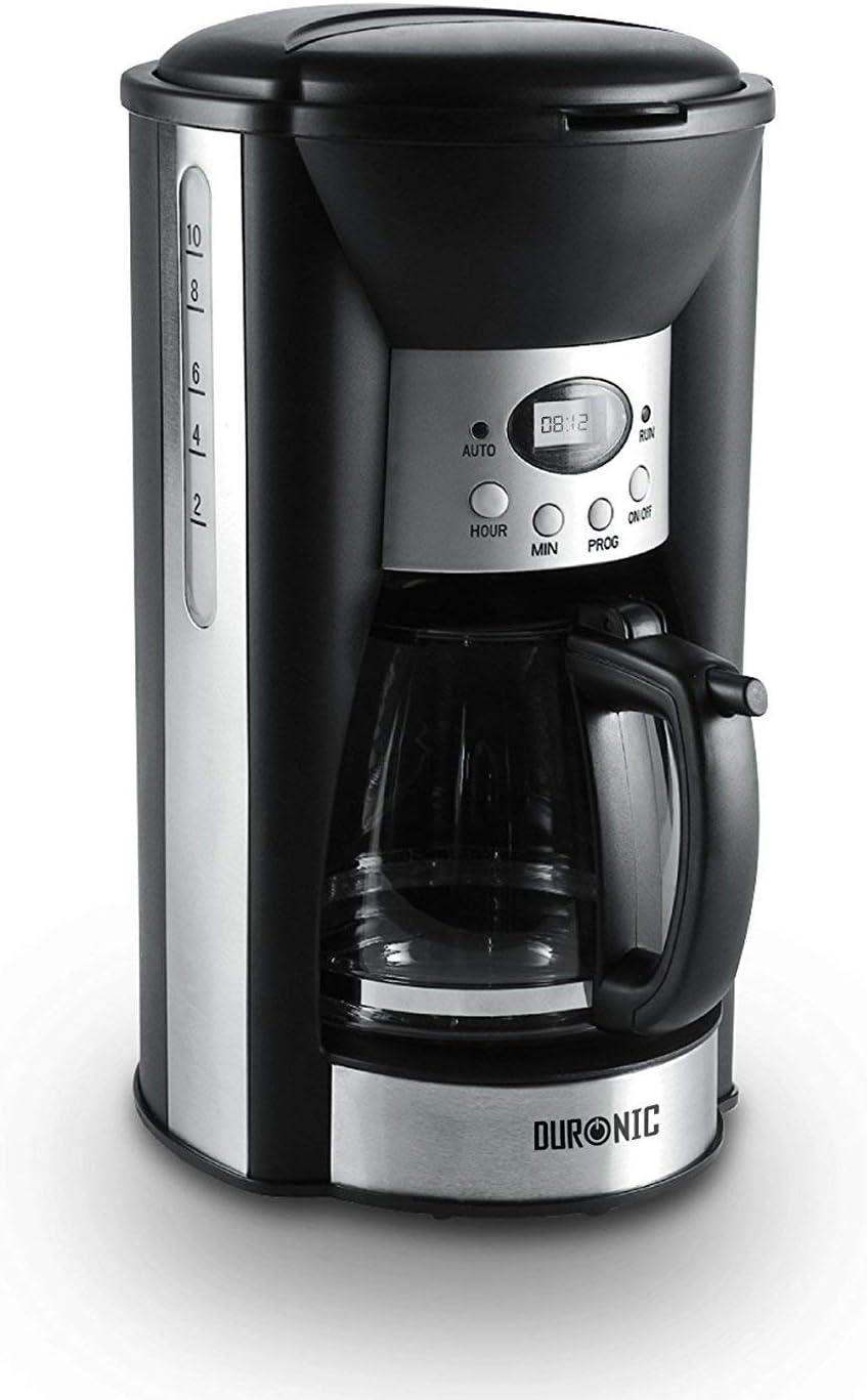 Duronic CM125 (Reacondicionado) Cafetera Programable 1000W Máquina de Café con Filtro Reutilizable Permanente, Placa ...