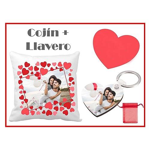 Regalo San Valentín/Cojín + Llavero Personalizado con Foto ...