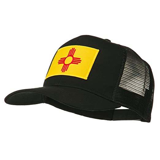 5a3980e0 E4hats New Mexico State Flag Patched Mesh Cap - Black OSFM at Amazon ...
