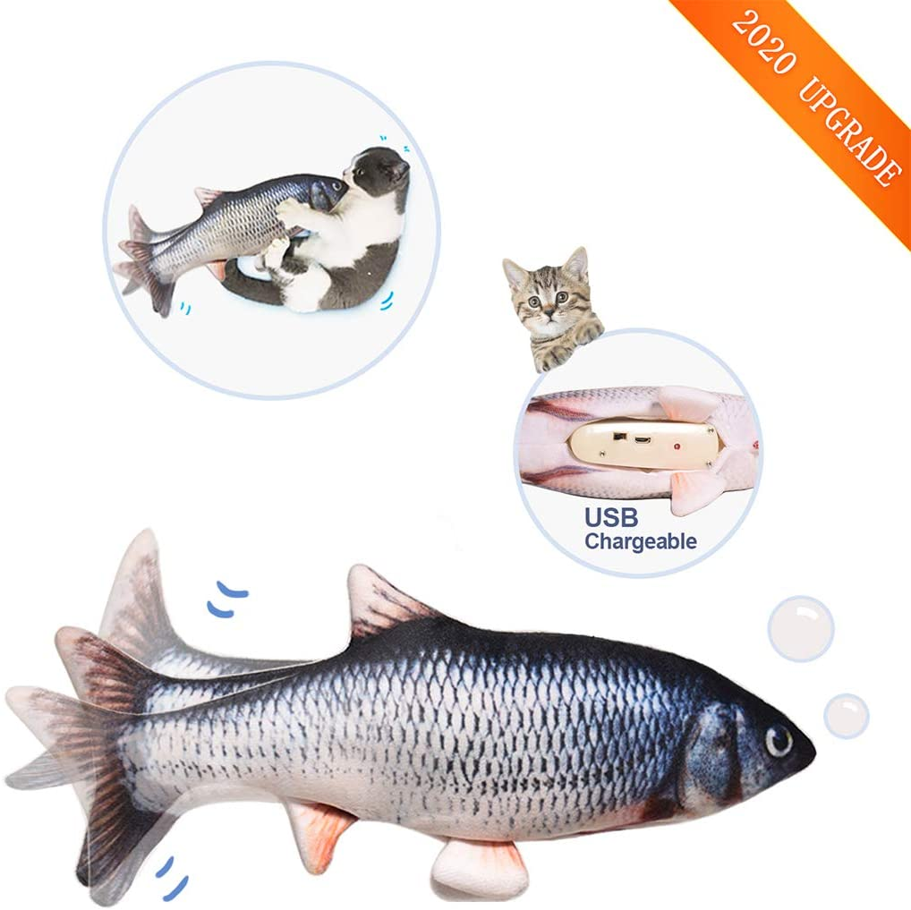 """Leven 10"""" Washable Flopping Cat Kicker Fish Toy, Low Noise Realistic Moving Fish for Small Dogs, Electric Wiggle Fish Catnip Toys, Motion Kitten Puppy Toy, Plush Interactive Cat Toys for Cat Exercise"""