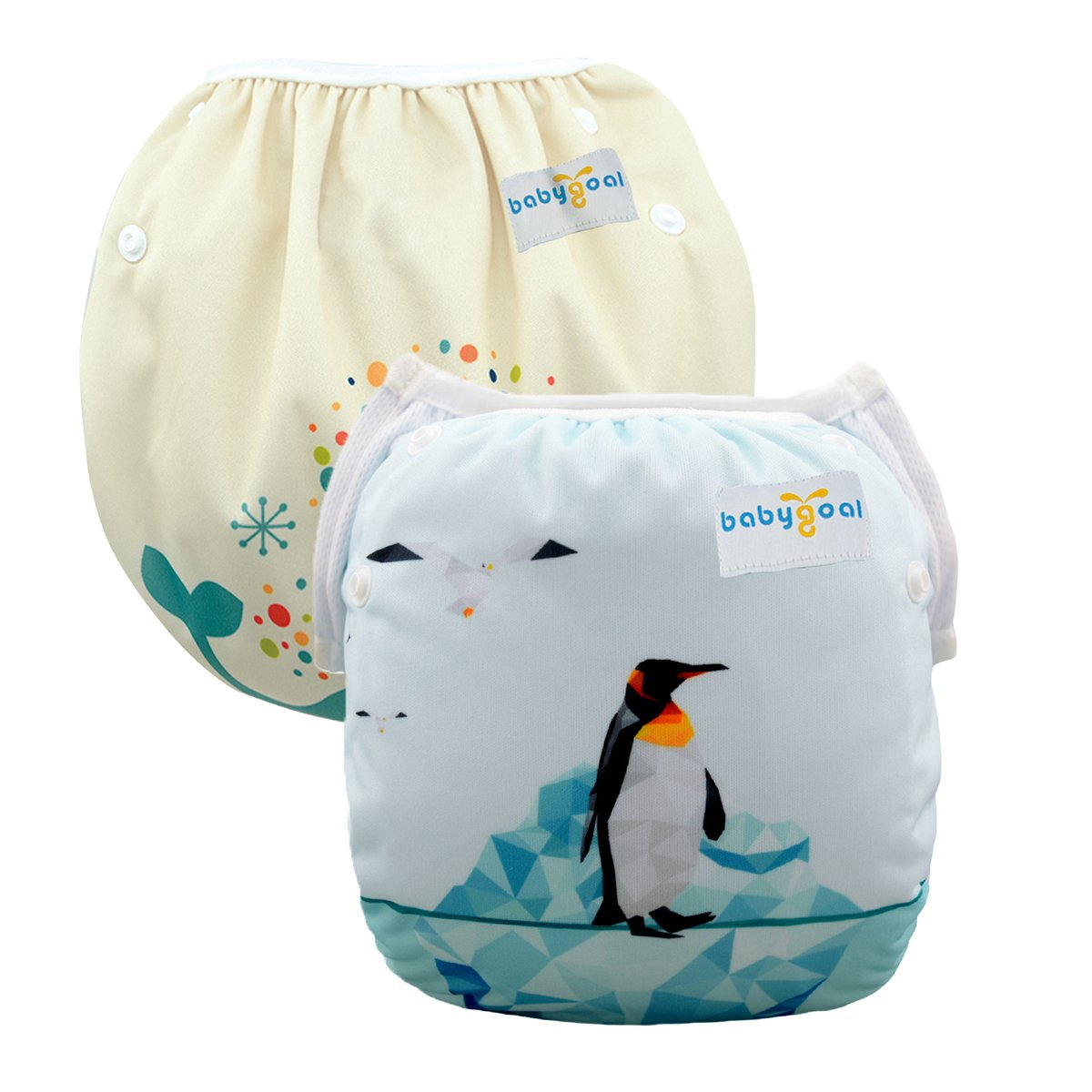 Babygoal Baby Swim Diapers, Reusable Washable and Adjustable for Swimming, Outdoor Activities and Daily Use, Fit Babies 0-2 Years 2SWD0112 Huapin 2SWD0112-CA