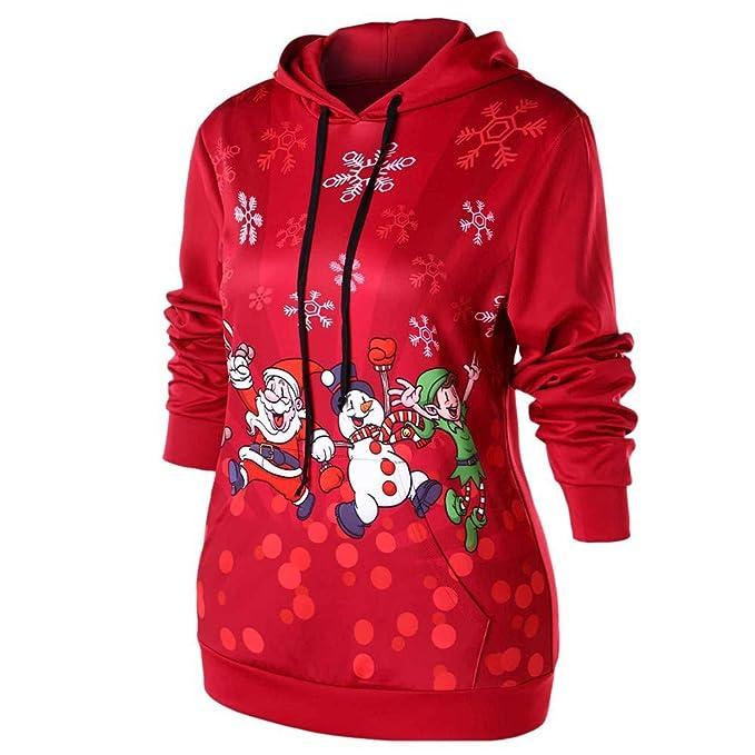 MEIbax Casual Moda Navidad Sudaderas con Capucha para Mujer otoño Invierno de Santa Claus y Muñeco de Nieve Estampado Manga Larga de Bolsillo Abrigos ...