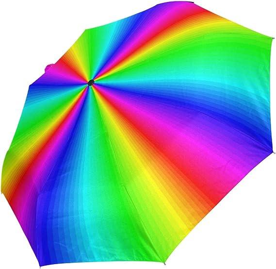 XiangHeFu Paraguas Abstracto arcoíris Colorido Cierre automático 3 Pliegues Ligero Anti-UV: Amazon.es: Deportes y aire libre