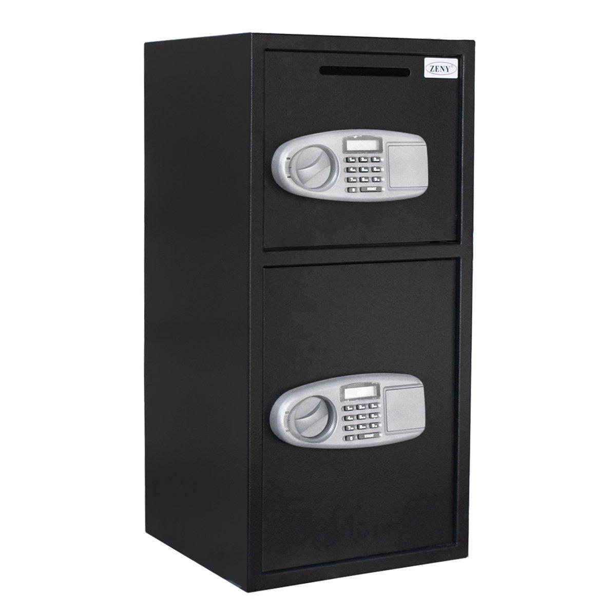 ZENY Large Double Door Digital Deposit Security Safe Box Cash Jewelry Gun Drop Lock Box