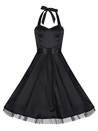 Ladies 1940s 1950s Vintage Style Black Silky Satin Halterneck Party Prom Dress ...