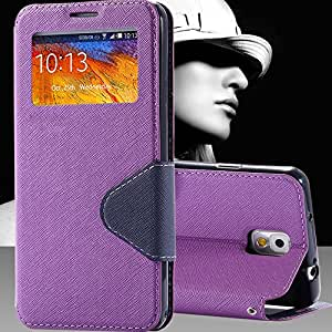 Note3 Stand Leather Flip Cute Fashion With Logo Case For Samsung Galaxy Note 3 III N9000 Phone Accessories Cover Window View --- Color:sky blue