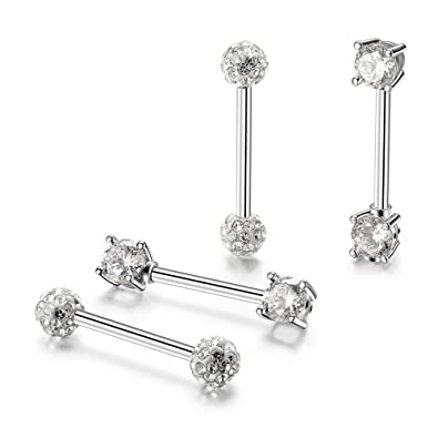 bb12e58f24135e Amazon.com: Gnoliew 14G Nipple Rings Stainless Steel Straight Barbell Body Piercing  Jewelry(2 Pairs): Jewelry