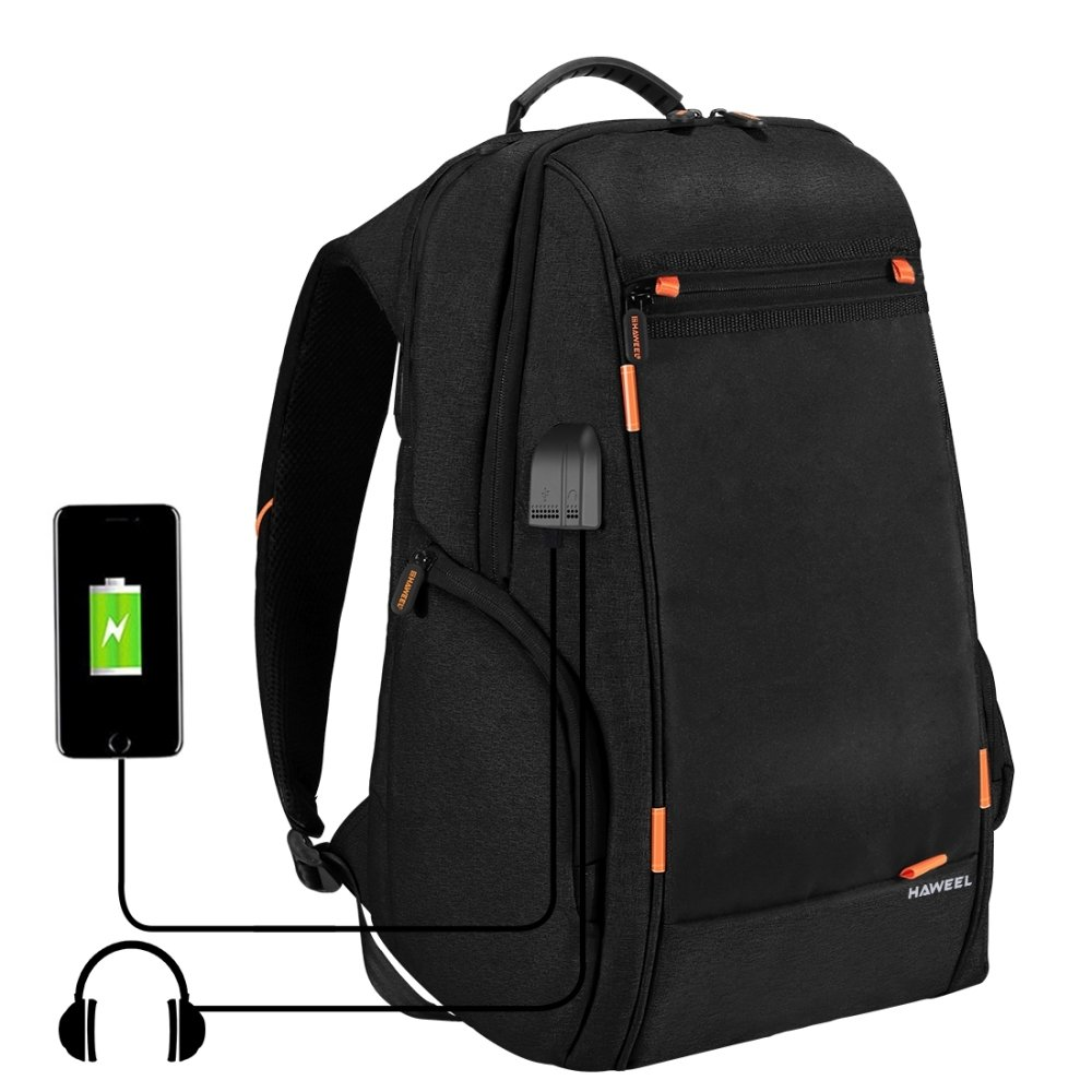 HAWEEL Outdoor Multi-function Solar Panel Power Breathable Casual Backpack Laptop Bag School Bookbag for College Travel Backpack, With USB Charging Port & Earphone Port (Black)