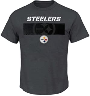 9a83f766341 Majestic Pittsburgh Steelers Mens Short Yardage Shirt Pewter Big   Tall  Sizes