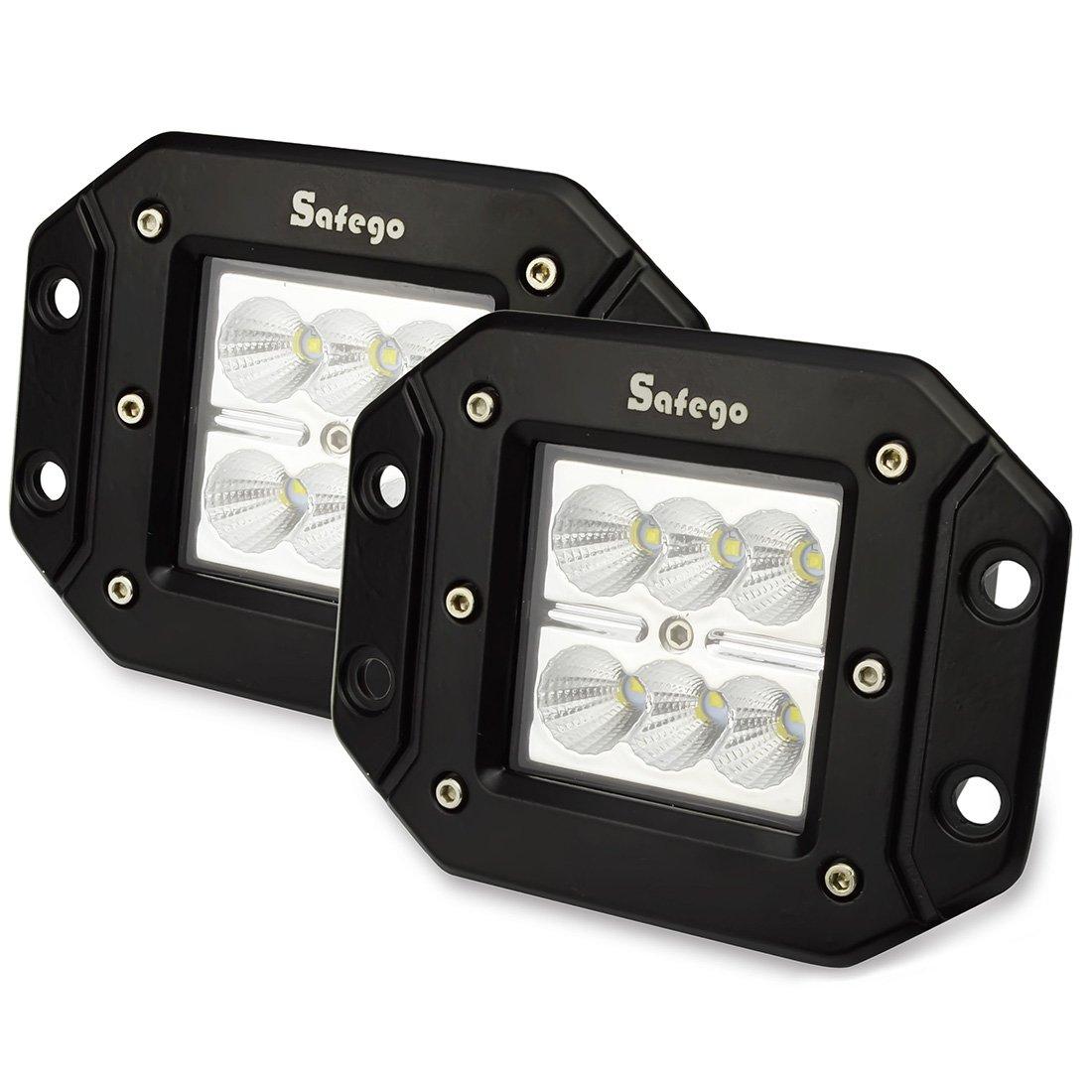 Safego 2x 24W Faro Da Lavoro Luce Barra Luminosa LED Fendinebbia Fanalino Luce Anteriore e Posteriore ecc per Autoveicoli Fuoristrada 10 ~ 30V DC Inondazione Y