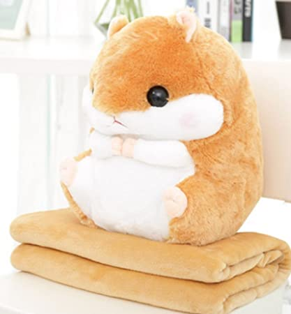 YunNasi 2 en 1 grasa de peluche de hámster de peluche con manta almohada y cálido