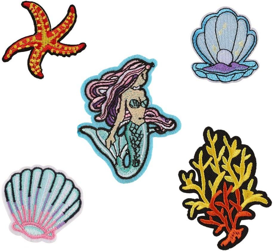 concha de sirena estrellas de mar 1 juego parches para planchar calcoman/ías parche para ropa tela Parches XUNHUI para bordar ropa