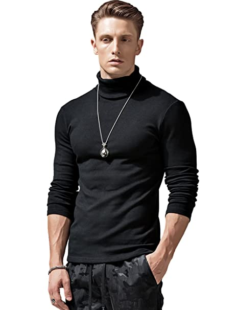 71425858 XShing Mens Long Sleeve Turtleneck T Shirts Stretchy Slim Fit Athletic Warm  Sweater,Black,