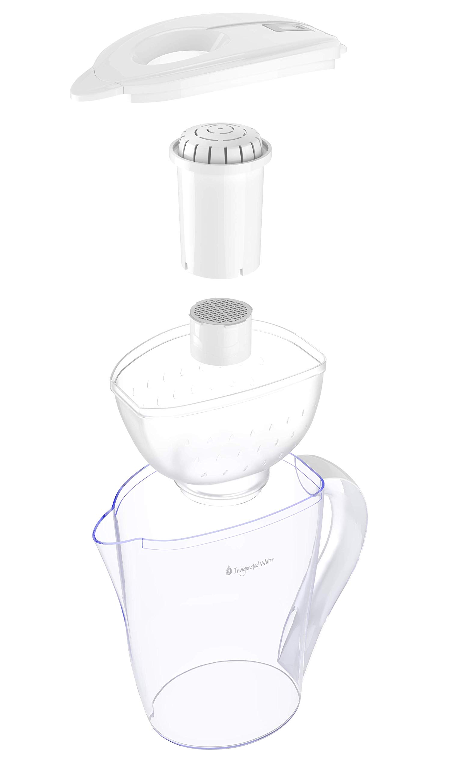 pH Restore Alkaline Water Pitcher with Long-Life Filter - Alkaline Water Filter Purifier - Water Filtration System - High pH Ionized Alkaline Water Machine, 118oz, 3.5L (White) by Invigorated Water (Image #3)