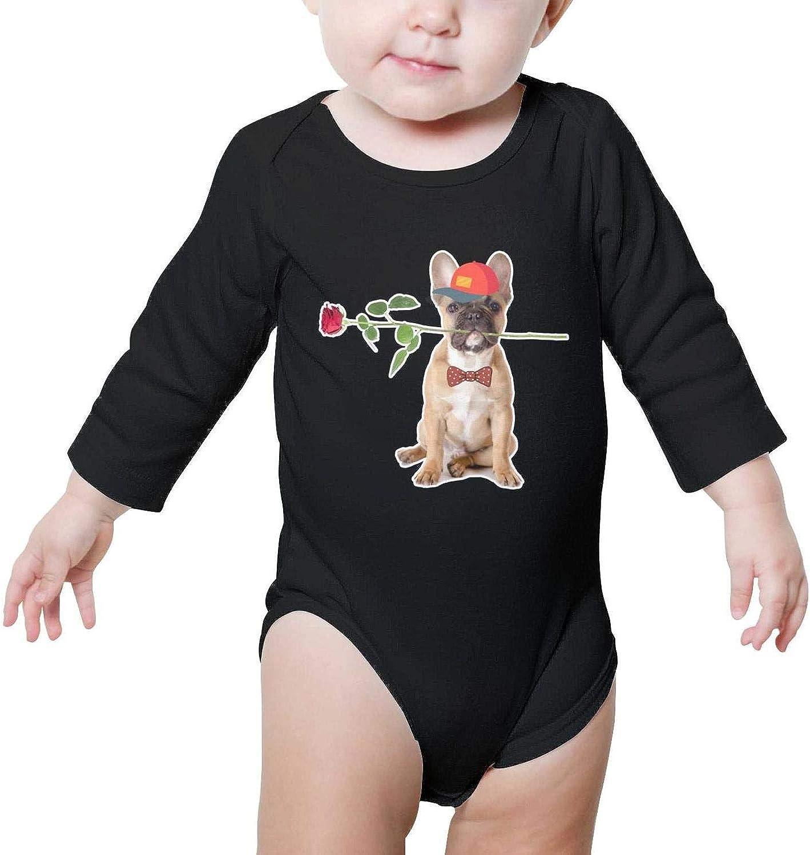 Dabbing French Bulldog Funny Long Sleeve Neutral Baby Onesie Bodysuits Set for Newborn Boys Girls
