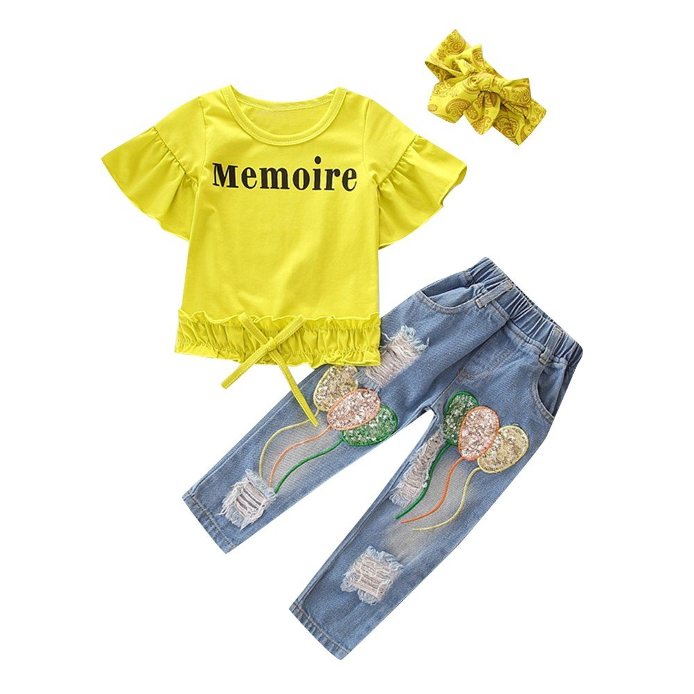 XUANOU Kids Girls Short Sleeve Letter Print Ruffles Top Sequin Balloons Ragged Jeans Hair Band Three Set Ruched Pants