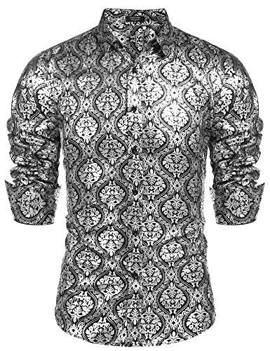 COOFANDY Men's Luxury Design Shirts Floral Dress Shirt Casual Button Down Shirts
