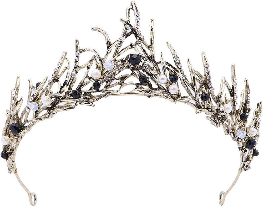 Main En Or Feuille De Tiara Perle Couronne De Mariage De Diad/ème De Cheveux Accessoire De Bal Deer Platz Vintage Princesse Couronne De Cheveux