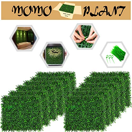 MoMoplant Artificial Boxwood Panels Faux Ivy/Milan Leaves Topiary Hedge Plant for Privacy Fence Patio,Greenery Walls, Home Backyard Garden Decorations Both Outdoor or Indoor,Panels 20″ x 20″ (12-Pack)