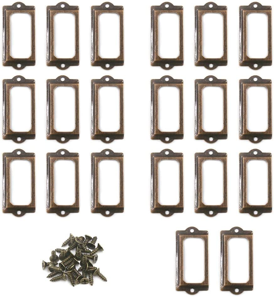 TOUHIA 20pcs Red Bronze Label Holder Antique Card Tag Holder Drawer Pull Metal Label Frames for Office Library File 70x35mm
